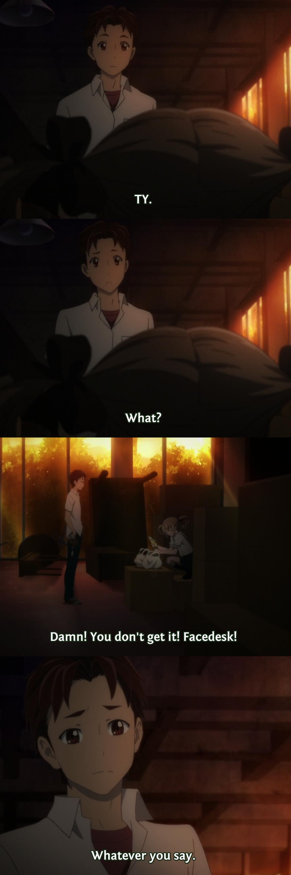 Using internet talk IRL. anime is Robotics;Notes.