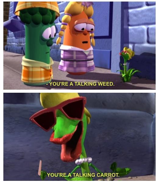 """Veggitales. . AAH"""" YOU' RE A TALKING CARROT. veggitales"""