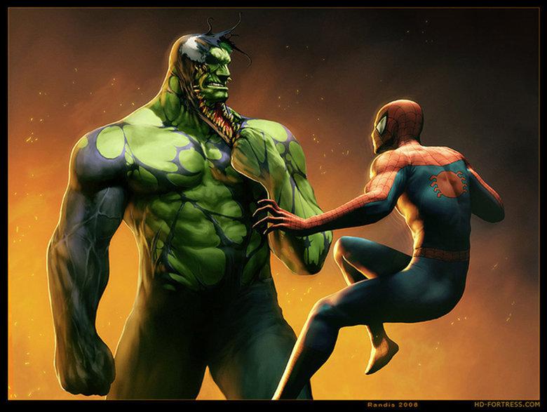 Venom-Hulk vs Spiderman. Found on alternateartlives.blogspot.com/.