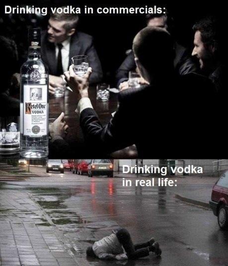 vodka. . Drinking vodka in commercials: