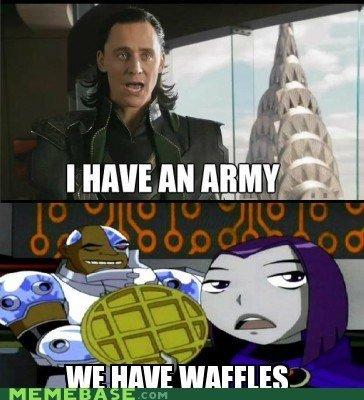 Waffles. . Ill ttl E dgltt. .4: DC Your Daily Marvel waffles Ravn Cyborg Loki Army