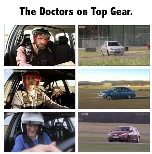 waiiitttt.... That's not a TARDIS!. . The Doctors on Top Gear.