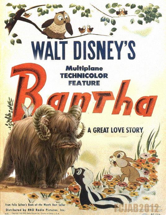 Walt Disney's Bantha. Walt Disney and Lucasfilm present BANTHA. FEATURE A GREAT um STORY Hahn. bantha star wars Disney disney mashup mashup paraody George Lucas sold parody