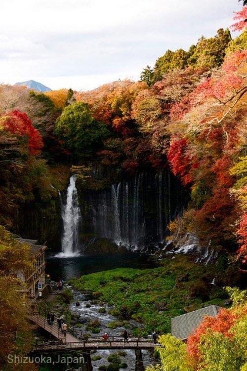Waterfall. Shiraito Falls is a waterfall in Fujinomiya, Shizuoka Prefecture, near Mount Fuji, Japan. It is part of the Fuji-Hakone-Izu National Park and has bee