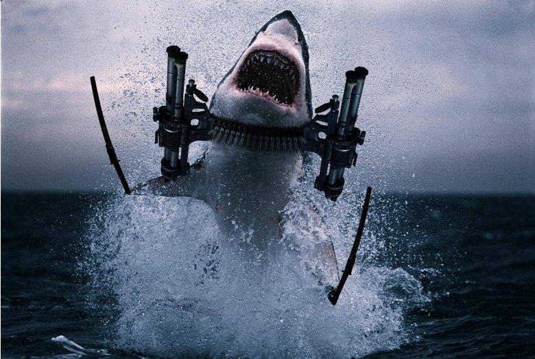 We're done for.. flying machine gun ninja shark. ... I prefer lasers on my sharks.