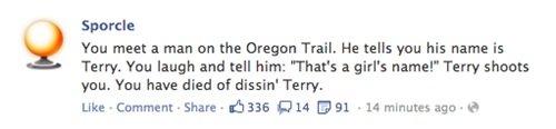 Well Played, Sporcle.. Oregon Trail. No U