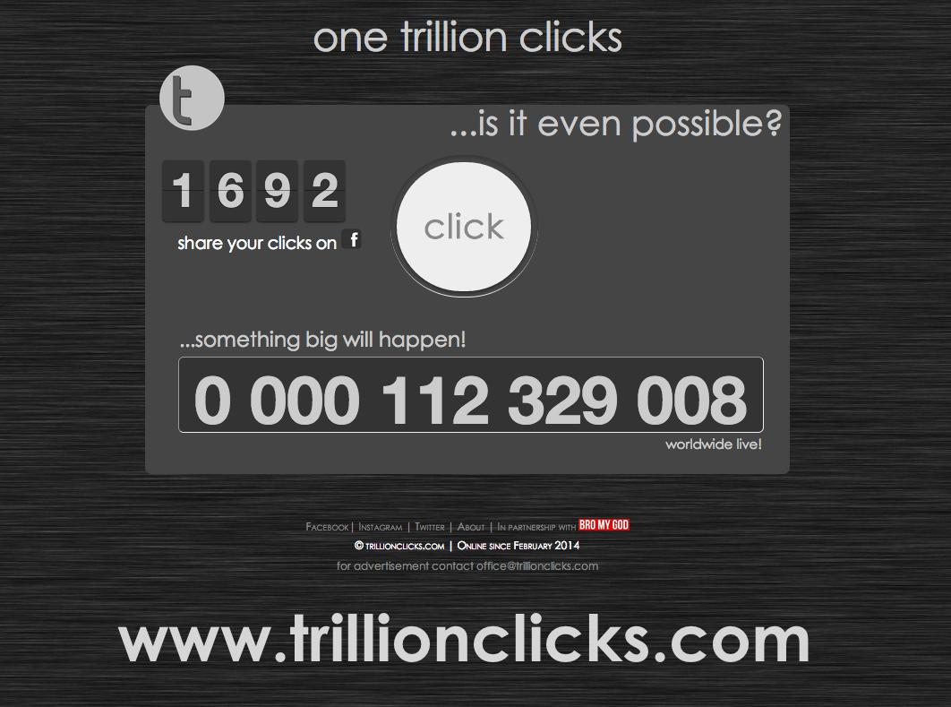 What will happen guys??. www.trillionclicks.com. one trillion clicks ll' ...is it even possible? seme' raing big will happen! me 112 329 008 worldwide live! Bil