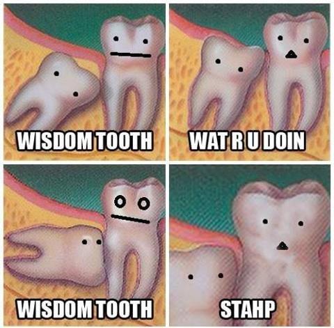 Wisdom Teeth. .. when I got my wisdom teeth they grew in an I didn't even know it didn't hurt at all