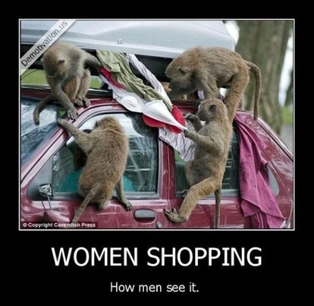 Women shopping. . How men see it.. Black women shopping