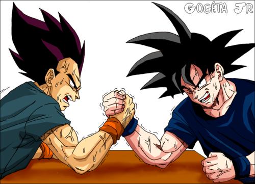 Worlds never-ending arm wrestling match. vageta vs goku....stalemate.....for years..