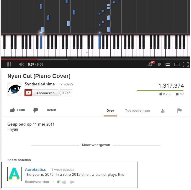 "YouTube(1). www.youtube.com/watch?v=P0bpK7kPRys. man Cat [Piano Cover] l (TI 7 374 If Leak . Delen threr Toe"" negan ash Jig l' ' Reupload up 11 mei 2011 nyan Be"