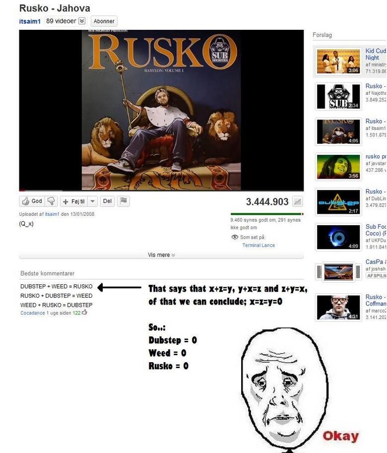 Youtube comment fails. just saw it... Ruskin - Jahova 89 ] Abother Flush: - Uploadet at den 13.. / 2008 I 9. 460 ewes gorls um. 291 ewes tlx) we welt om Sub FIJ youtube comment fail