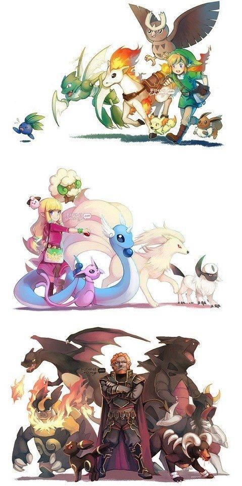 Zelda characters as Pokemon Trainers. Creators website: finnichang.tumblr.com/.. Zelda has one of my favourite pokemon, Scyther.