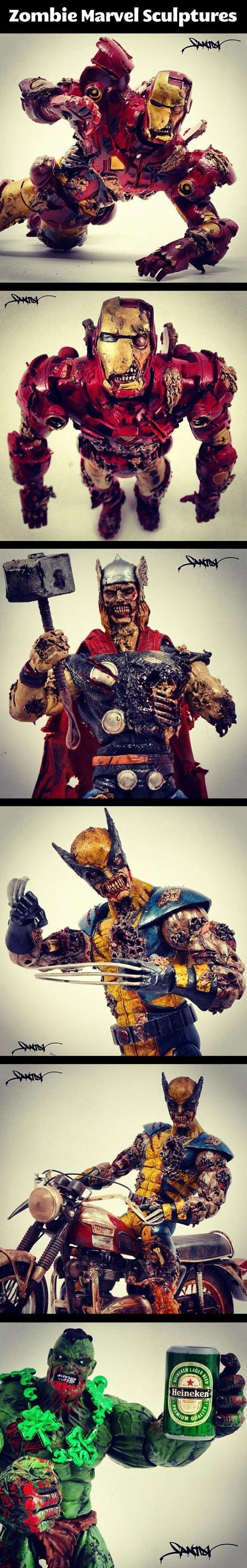 Zombie Marvel. . Zombie Marvel Sculptures. i kept hoping for deadpool...