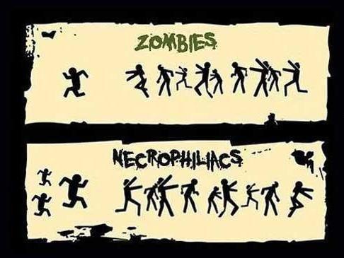 Zombies. Vs necros.. Necrophiliacs are attracted to the dead. Zombies are undead. Zombies are therefore un-the thing Necrophiliacs are attracted to. Zombies are unattractive to Necr