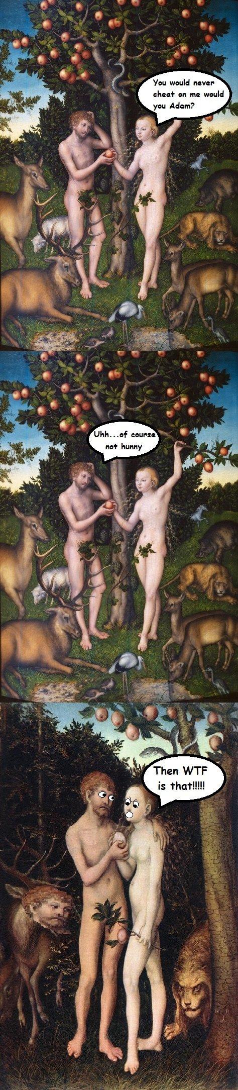 Adam and Eve. . YE 'Ware never ahead' an m: 18' ari gnu Adam? nu'? Huang;