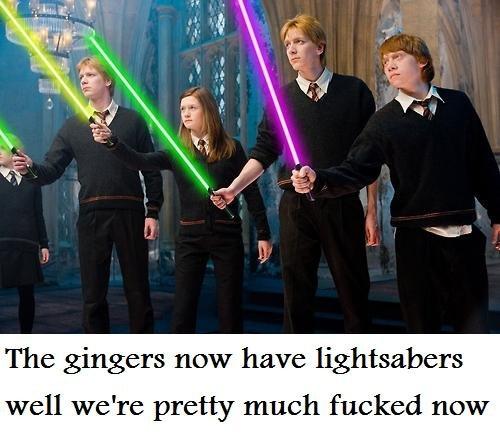 """all is lost. . l' tall , l, ? new """"fl' fl, lightsabers well were pretty much new"""