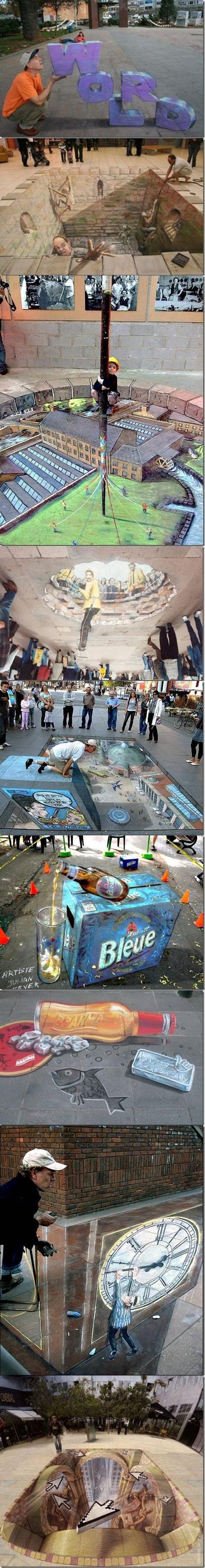 Amazing 3D sidewalk art part 2. part 1 funnyjunk.com/funny_pictures/155184/Amazing+3D+sidewalk+art/.. and then it rains :)