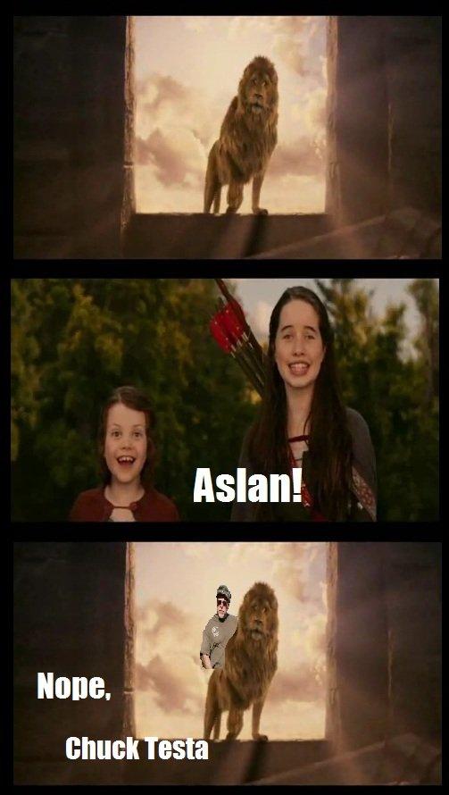 "Aslan returns. .. I thought it said ""Asian returns"""