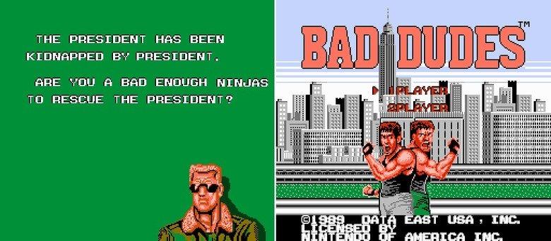 "Bad Ninja. Wait.. What? :I you five words.. THE PRESIDENT HI'S BEEN F"" EIJ ' PRESIDENT. nne van n ENOUGH . I Tn RESCUE THE PRESIDENT? "" ' -H"". BRILLIANT GAME, trust me!"