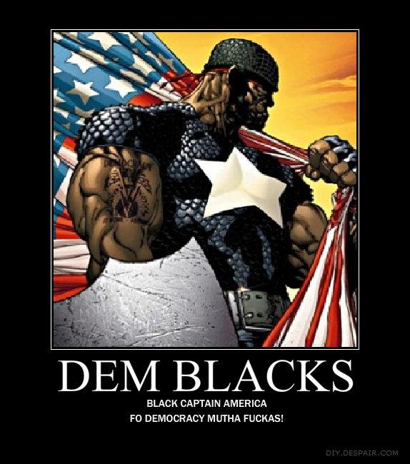 black captain america. cuz dat democracy taste just as sweet as cold grape drank to dem black men<br /> plz thumb and comment. BLACK CAPTAN AMERICA DEMOCR