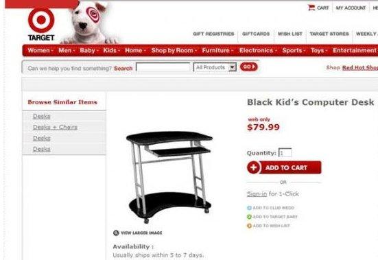 "Black Kid's Computer desk. Target has changed it to ""Kool Kolors Computer Desk Classic Black"". Moaarr manna i, it, an an rum reir. e. - loud:"