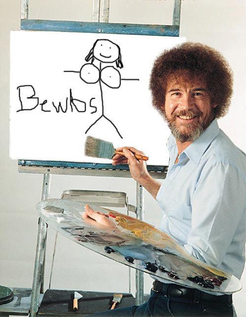 bob ross the pure painter. bob ross is motivative.. BLASPHEMY!