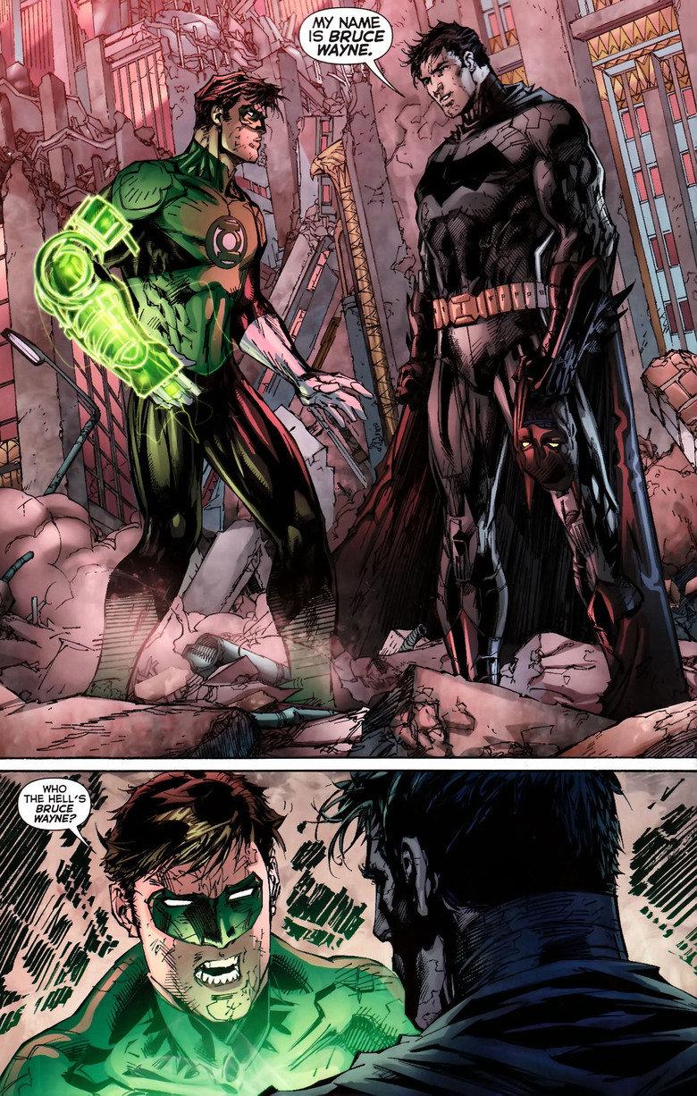 Bruce Wayne?. When Bruce Wayne first introduced himself to Hal Jordan in The New 52. From Justice League #5 Link: www.dccomics.com/comics/justice-league-2011/ju