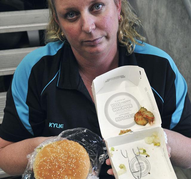 Burger. Found it here> news.ninemsn.com.au/national/8456717/mum-finds-penis-drawing-inside-burger-box.