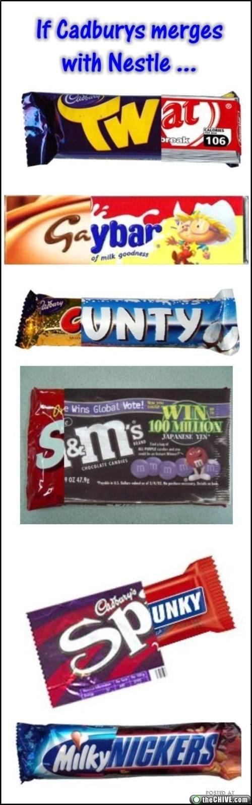 Cadbury Nestle Merger. .. Anyone else chuckle uncontrollably at MilkyNickers?