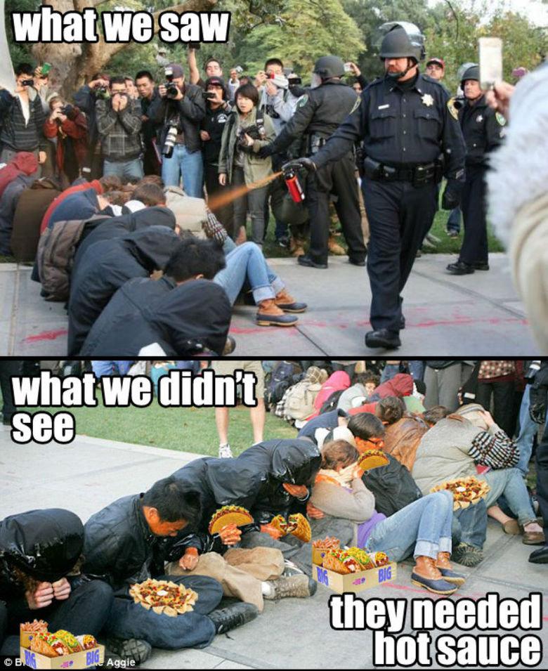 Casually spraying cop. .