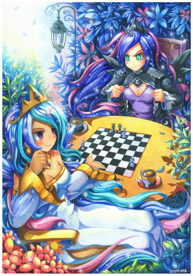 Celestia and Luna.. Who doesn't enjoy a good game of chess? Original link: www.deviantart.com/art/Princess-Celestia-and-Princess-Luna-377810833. L 55. Chess.