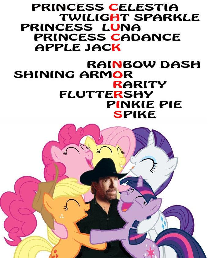 Chuck Norris. . PRINCESS CELESTIA TWILIGHT SPARKLE PRINCESS LUNA PRINCESS CADANCE APPLE JACK RAINBOW DASH SHINING ARIVING RARITY FLUTTERSHY PINKIE PIE SPIKE. Where is Rainbow Dash in the picture?