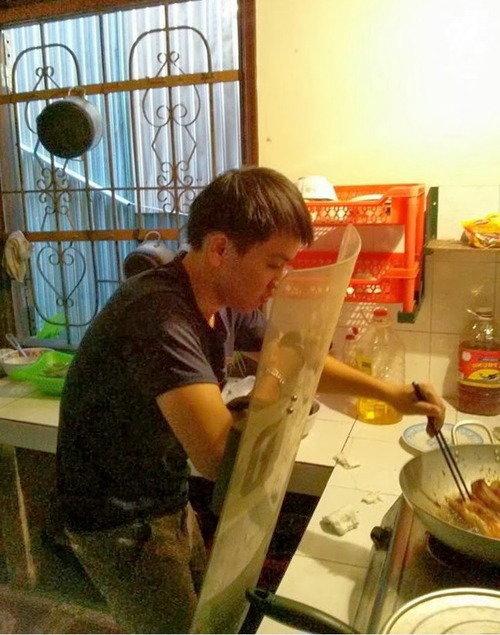 Cooking breakfast. .. He learned
