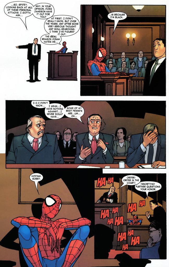 "courtroom spiderman. It's 'cause I'm black isn't it?. WIFE?» Ti' EMR', EACH Fat All ""W"" m rio? ii JANOSCH ME ATTACKS. I EVA If an atra REAL? WM. an mil EHW. HIP"