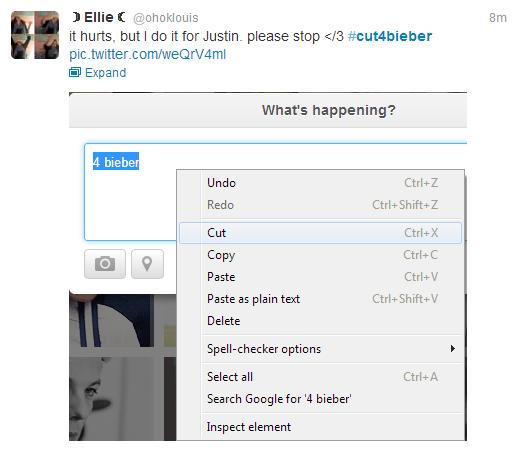 "#cut4bieber. . it hurts, but I CID it tor Justin. please stop t/ 3 # Expand What' s happening? Cut Copy Paste Paste "" plain text Delete acker options Select all"
