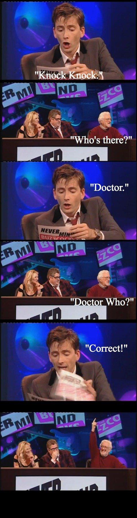 "David Tennant tells a Knock Knock joke. David Tennant tells a Knock Knock joke when hosting a Dr. Who themed ""Never Mind the Buzzcocks"" episode. Cathe"