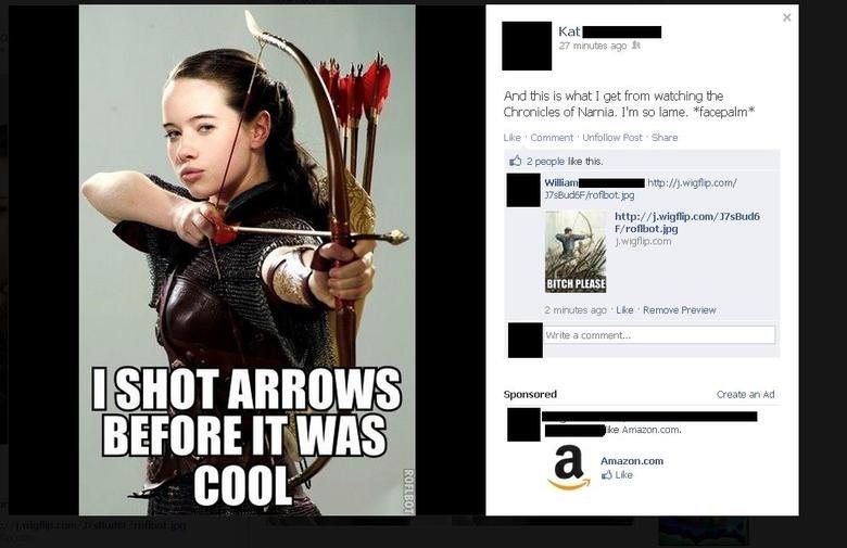 Facebook (2). Dat longbowman..