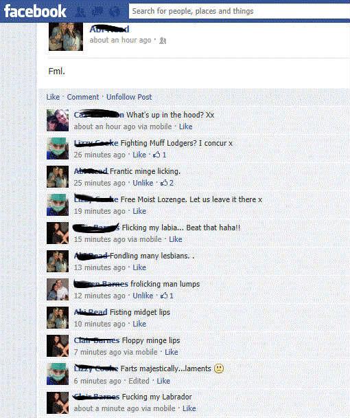Facebook ... you crucible of hilarity!. .