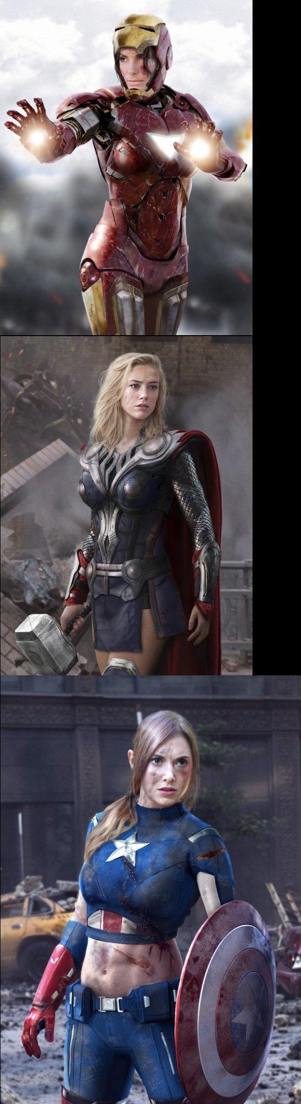 Female Avengers. Sandra Bullock as Iron Maiden Amber Heard as Thor Alison Brie as Cpt. America.. Female Nick Fury