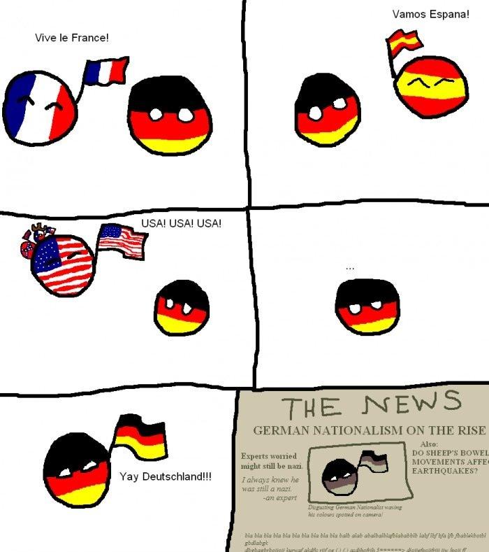 "Germany. . Vive he France! Yay Deutsh) Nante. Vamos Espana! GERMAN NATIONALISM ON THE RISE Aha: might Hill In uni. law' s knew hr bl"" lvh,"