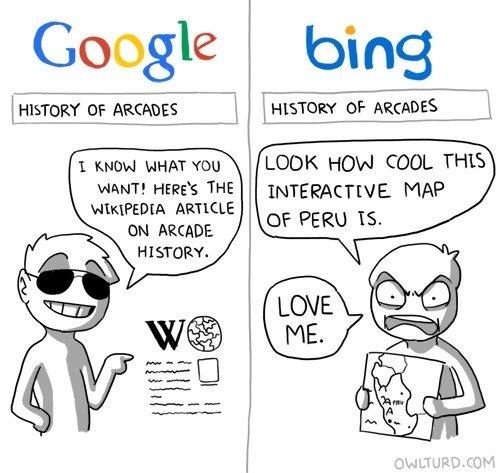 "google vs. bing. if bing changed its name to bang, you could say ""i just banged megan fox"". Google bi LOOK HON COOL THIS MAP I outloud YOU WANT! HERE'"