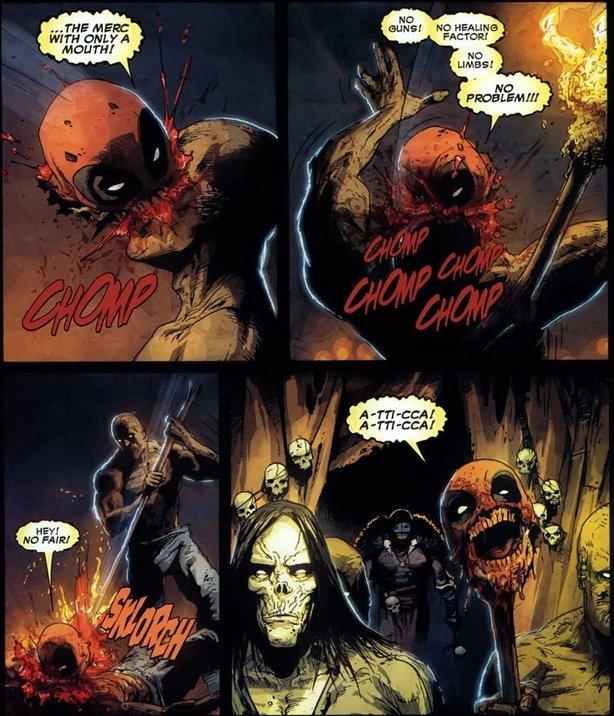 "HEADPOOL!. A-TTI-CCA A-TTI-CCA W T F. serise"" Y: I. Deadpool>Monty Python's Black Knight"