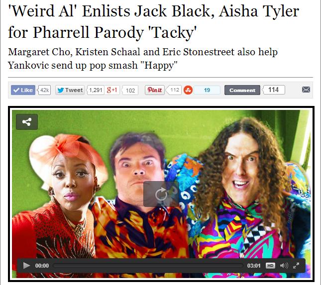 heeeeeeee's back guys!!!. www.rollingstone.com/music/videos/weird-al-enlists-jack-black-aisha-tyler-for-pharrell-parody-tacky-20140714 here is the song if you w