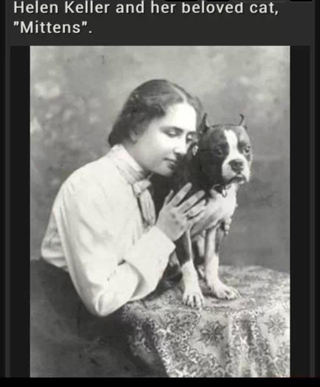 """helen keller love. lets start a post on helen keller jokes i know a few...PLEASE add more. Helen Keller and her beloved cat, Mittens""""."""
