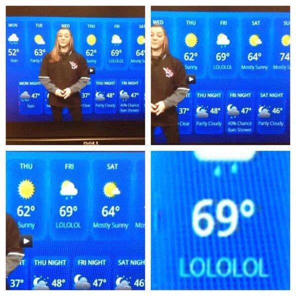 high school weather broadcast. maturity is overrated. IT FRI . LU sataria THU NIGHT FRI MESH! 'nil HIGH. OP's face when
