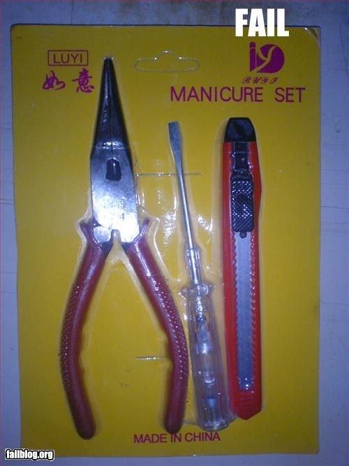 hmmm. asian fail!!. will. torture manicure set.
