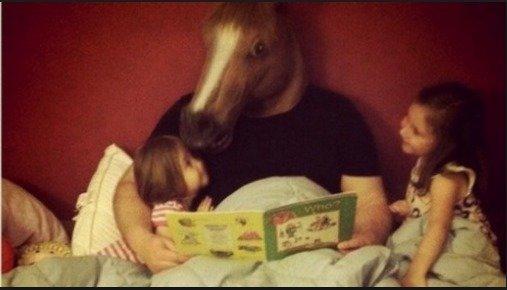 horse head mask. happy family.