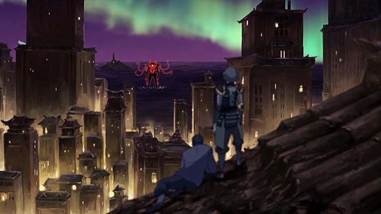"Humanity received a grim reminder.. shingeki no beifong.. ""Dark spirit has invaded!"""