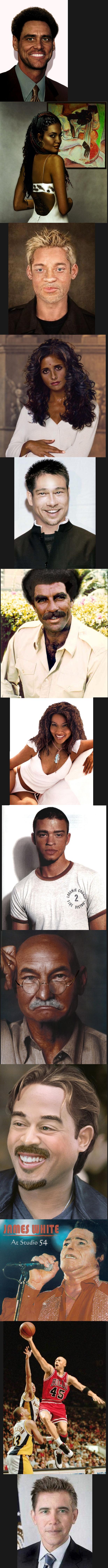 If celebrities were different a race. 1. Black Jim Carrey 2. Indian Angelina Jolie 3. White Will Smith 4. Indian Sarah Michelle Gellar 5. Asian Brad Pitt 6. Bla